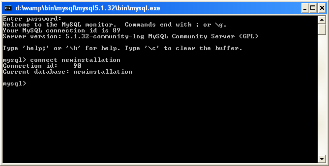 mysql console connect How to configure wordpress on local or remote server